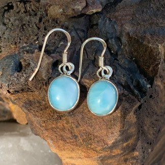 Larimar Oval Dangle Earrings