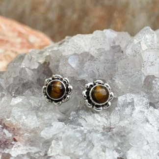 Tiger Eye Flower Earrings