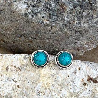 Turquoise & Sterling Stud Earrings