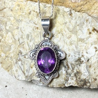 Amethyst & Sterling Silver Pendant