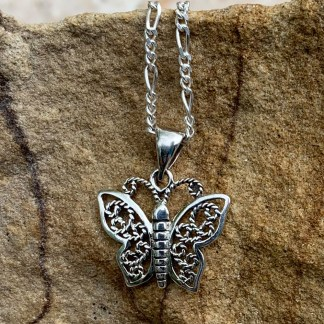 Sterling Filigree Butterfly Pendant