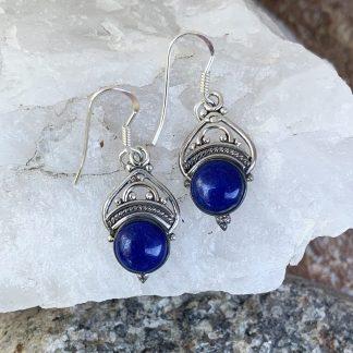 Lapis Lazuli Crown Earrings