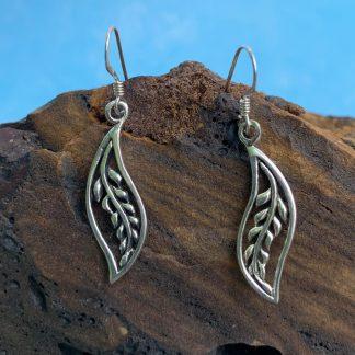 Sterling Leaf Dangle Earrings