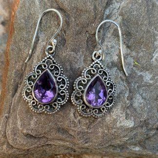 Amethyst & Sterling Romantic Earrings