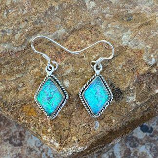 Opal & Silver Dangle Earrings