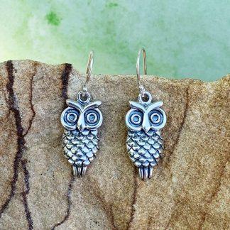 Sterling Owl Dangle Earrings