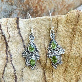 Peridot Floral Sterling Earrings