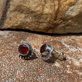 Garnet & Sterling Stud Earrings