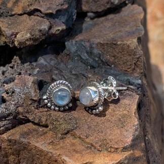 Rainbow Moonstone Fan Earrings