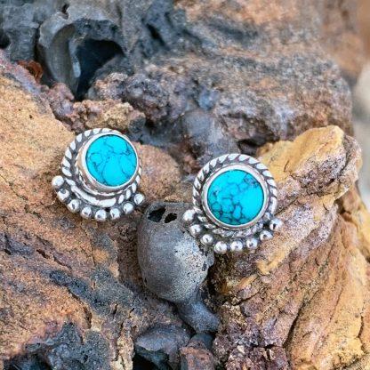 Turquoise & Silver Stud Earrings