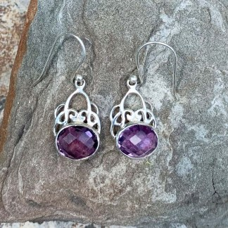 Faceted Amethyst & Sterling Silver Earrings