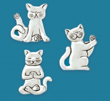 Pewter Yoga Cat Magnets