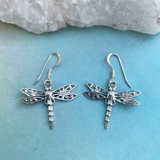 Silver Dragonfly Dangle Earrings