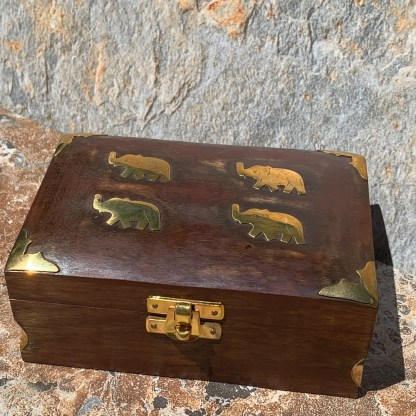 Brass Elephants Wooden Box