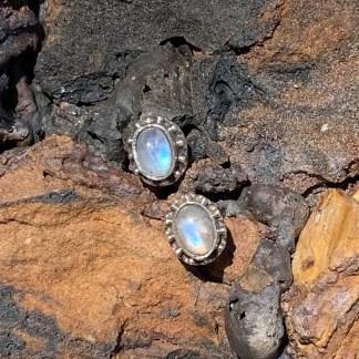 Oval Rainbow Moonstone Earrings