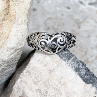 Sterling Filigree Heart Ring