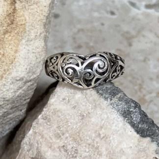 Sterling Filigree Heart Ring