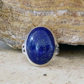 Lapis & Sterling Oval Ring