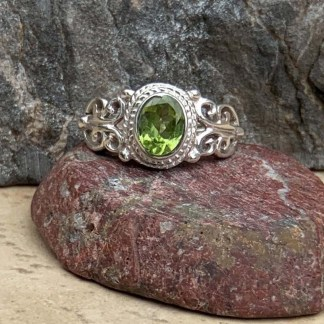 Peridot & Sterling Lacy Ring