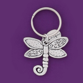 Dragonfly Whimsy Pewter Keychain