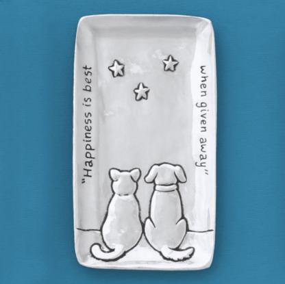 Cat & Dog Pewter Tray