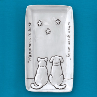 Cat & Dog Pewter Tray