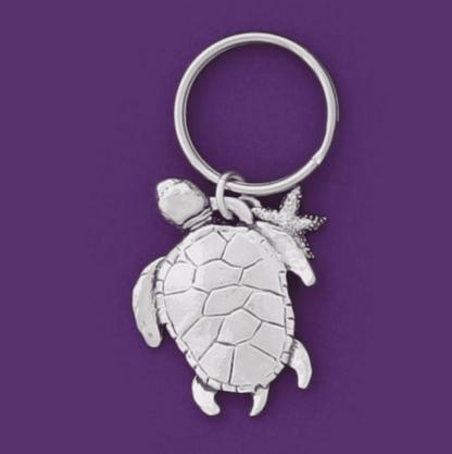 Sea Turtle Pewter Keychain