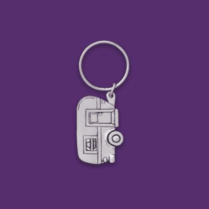 Pewter Vintage Camper Keychain