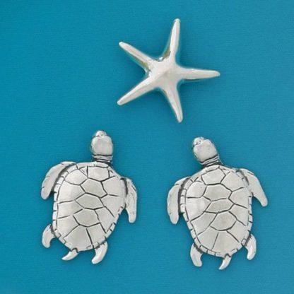Turtles & Starfish Pewter Magnets