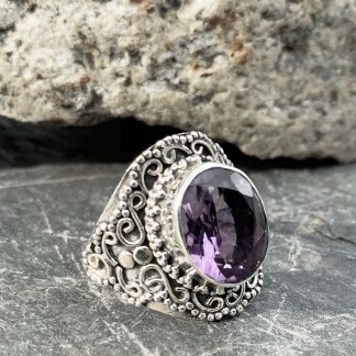 Amethyst Sterling Oval Ring