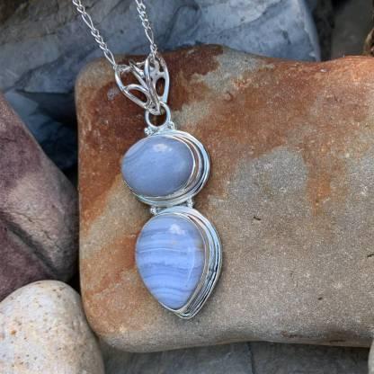 Blue-Lace Agate & Sterling Pendant