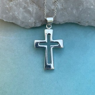Sterling Open Cross Pendant