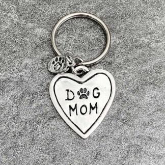 Pewter Keychain-Dog Mom