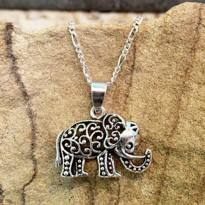 Sterling Elephant Filigree Pendant
