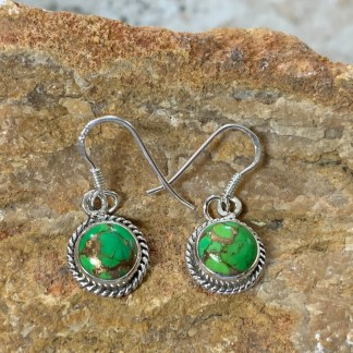 Green-Turquoise & Copper Round Earrings
