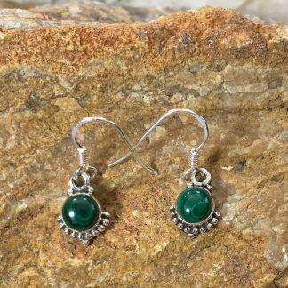 Malachite & Sterling Beaded Earrings