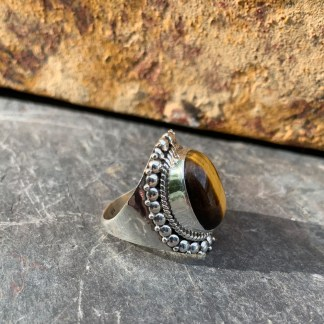 Tiger Eye Crown Ring