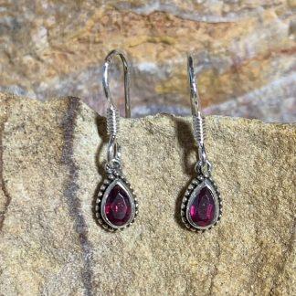 Garnet & Sterling Teardrop Earrings
