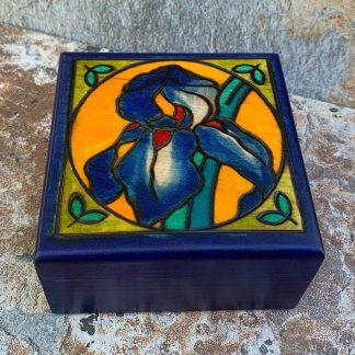Handcrafted Blue Iris Box