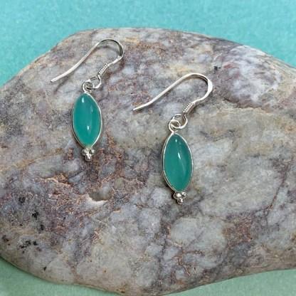 Aqua Chalcedony Sterling Earrings