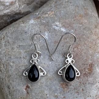 Black Onyx & Silver Earrings