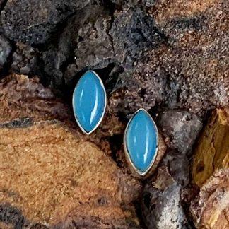 Blue Chalcedony Stud Earrings