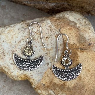 Citrine and Sterling Fan Earrings