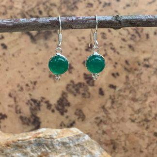 Green Onyx Round Earrings