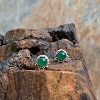 Green Onyx Button Earrings
