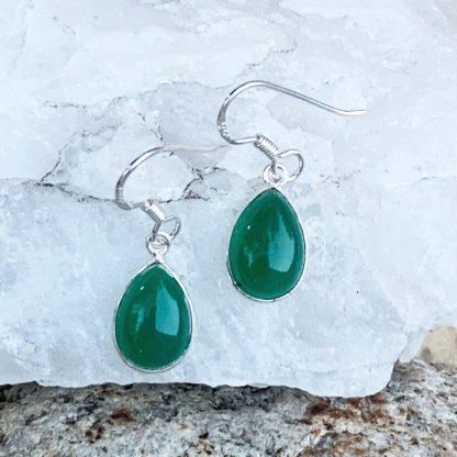 Green Onyx Teardrop Earrings