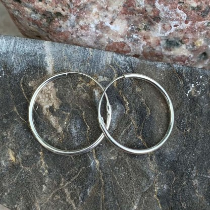 Silver Circle Hoop Earrings