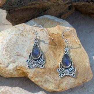 Labradorite & Silver Fan Earrings