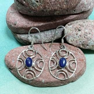 Lapis & Sterling Web Earrings