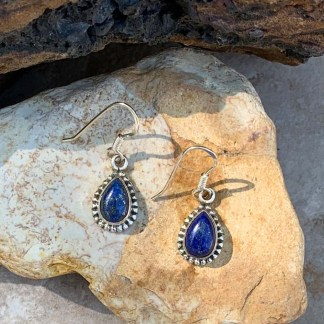 Lapis Silver Teardrop Earrings
